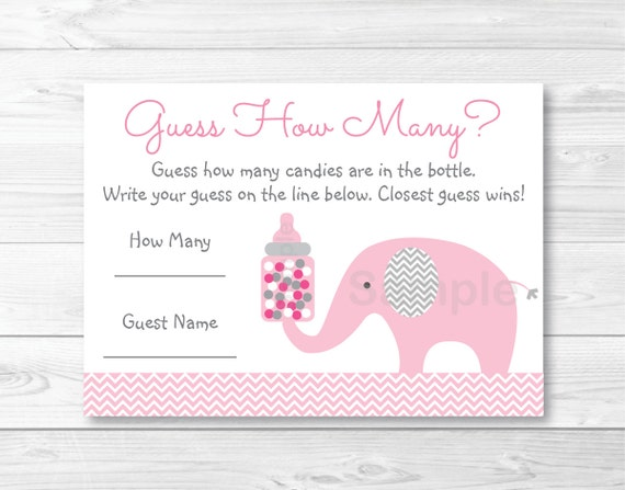 """Pink Chevron Butterfly Printable Baby Shower /""""Guess How Many?/"""" Game Cards"""