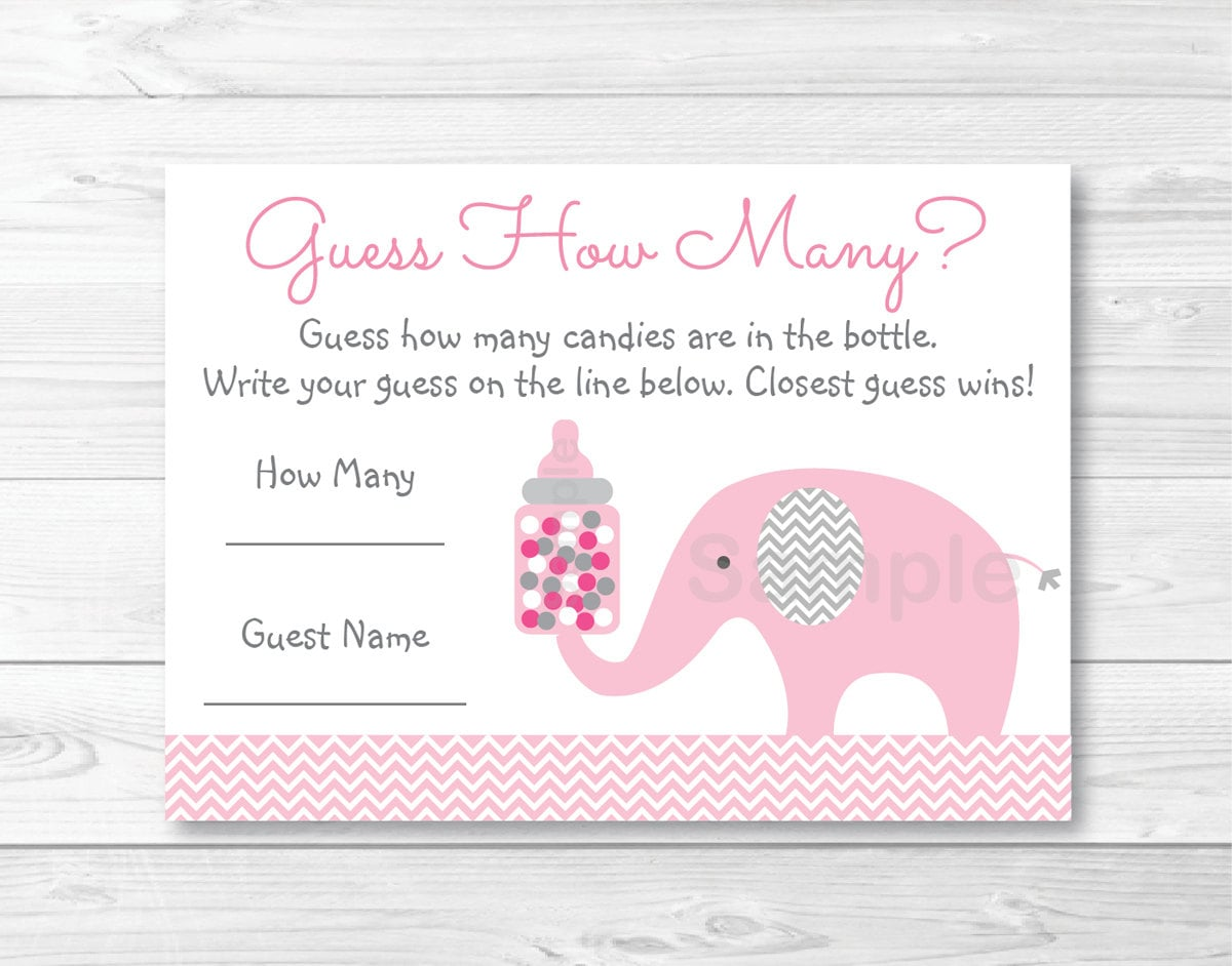 Pink Elephant Guess How Many Game / Elephant Baby Shower