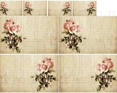 Shabby Chic Pink Roses Journal Tag Card Digital Collage sheet for scrapbook and cards DC760