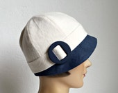 1920s Cloche Hat in Blue and Cream Linen - Cloche - Women's Hat - Made to Order