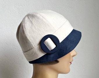 1920s Cloche Hat in Blue and Cream Linen - Cloche - Women's Hat - READY TO SHIP via 3 Day Priority