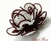Brides beaded flower hair clip, French beaded flower Royal White Crimson  - for the bride or bridesmaid