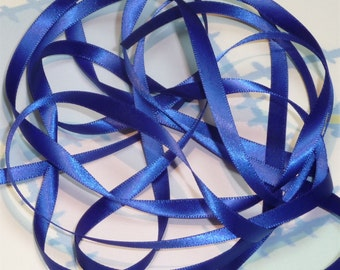 COBALT DouBLe FaCeD SaTiN RiBBoN, Polyester 1/4 inch wide, 5 Yards