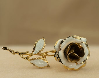 Enameled Rose Brooch or Pin - White and Gold Tone Vintage Enameled Rose Brooch 1960s