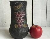 Vintage Goofus Glass Vase - Grape - Black and Gold