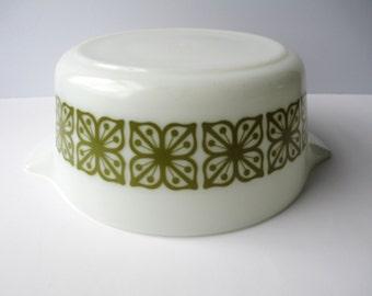 Vintage Pyrex Square Flowers Verde 2.5 Qt Baking Dish