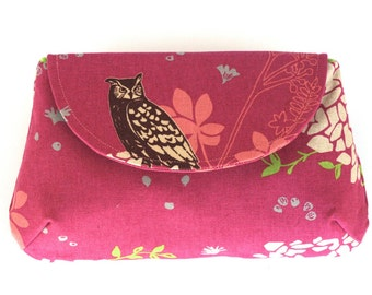 Owl Clutch Handmade in Fuchsia Pink Linen