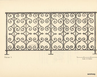 Vintage Engraving Architectural Plate Ironwork Balcony Rail Charleston South Carolina