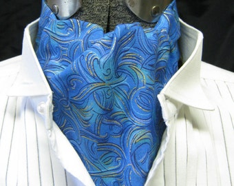 blue ASCOT Steampunk Victorian Gothic gentlemans pure Cotton cravat tie jabot gold accents man's one size shades of blue swirls