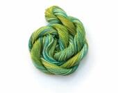 Perle #5 cotton embroidery thread, hand dyed, 20 metre (22 yard) skein - dark green, khaki, bright olive green, moss, green crochet yarn