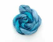 Hand dyed cotton perle #5 embroidery thread, 20 metre (22 yard) skein - dark blue, sky, turquoise, light blue, space dyed crochet yarn