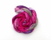 Hand dyed cotton perle #5 embroidery thread, 20 metre (22 yard) skein - pink, fuchsia, honeysuckle, purple, mauve, beige, green