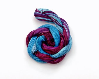 Hand dyed cotton perle 8 embroidery thread, 30 metre (33 yard) skein - dark purple, violet, royal blue, light blue, sewing thread