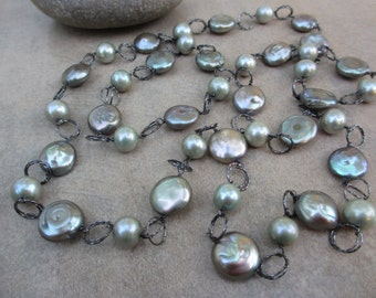 Green Pearl Long Necklace, Long Pearl Necklace, Sage Green, Coin Pearls, Black Rhodium, Oxidized, Irisjewelrydesign