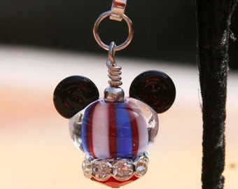 Patriotic Red White and Blue Mickey Mouse Style Zipper Pull or Charm Disney Inspired DeSIGNeR Accessory Flag Memorial July 4