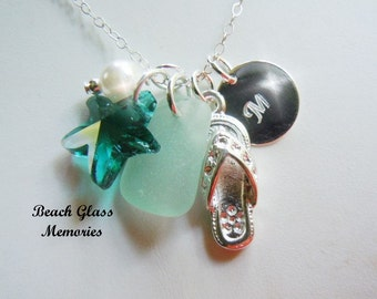 Sea Glass Necklace Personalized Necklace Sea Foam Beach Glass Flip Flop Necklace Seaglass Jewelry Charm Necklace Starfish