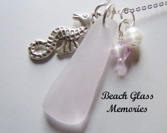 Lavender Sea Glass Seahorse Necklace Seaglass Necklace Beach Glass Jewelry