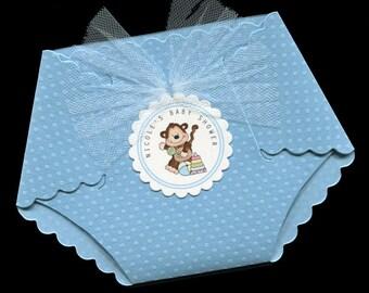 Baby Shower Invitations - Diaper Invitation - Diaper Shaped Invitation - Baby Boy - Monkey - set of 40