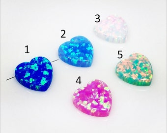 10mm OPAL Heart Hand Bead Charm Pendant bracelet Lab Created multi color - Jewelry Making (OPHR10V)