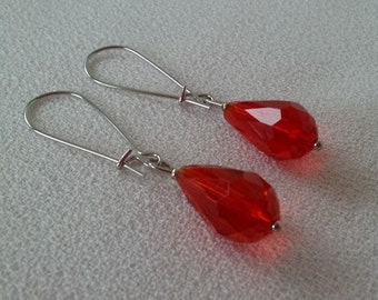 SALE Crimson Red Pear Drop Crystal and Silver Earrings