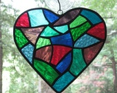Stained Glass Abstract  Heart in Blues, Purples, & Greens