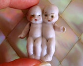"""German Doll Antique Twin Bisque Babies Jointed Arms Tiny 1.5"""""""