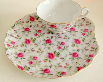 Lefton Rose Chintz Handpainted China Snack Plate with Cup #637 1953-1971