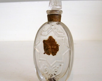Antique Narcisse Pierre Paris French Parfum Perfume Bottle Paper Label with Stopper