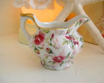 Creamer Lefton Pink Rose Chintz Cream