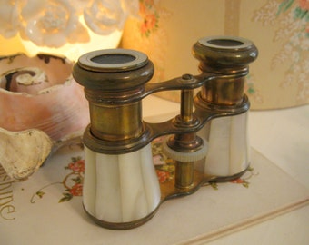 Mother of Pearl Carved Opera Glasses Brass Antique