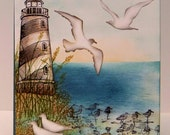 Special Order for Linda...2 Beautiful Seascape Water colored Art cards...Stampin'Up!...LightHouse Stampabilities..Birds Impression Obsession