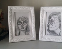 Two day of the Day of the Dead drawings. Original OOAK pencil Drawing, framed.