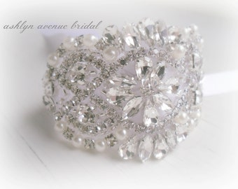 Bridal Rhinestone Bracelet - Bouquet Wrap - Bride Couture - Bridal Party - Silver Beaded Jeweled, No. 102BDBRBW, Prom, Wedding Accessories