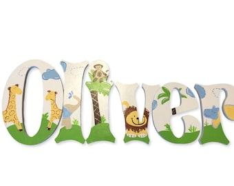 Jungle Friends Animals PBK Inspired Custom Hand Painted Nursery Letters Nursery Wall Hanging Letters Wood Nursery Letters Name Nursery Decor