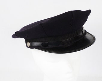 Vintage Firemans Dress Hat Cap Navy Blue Wool Sz 7