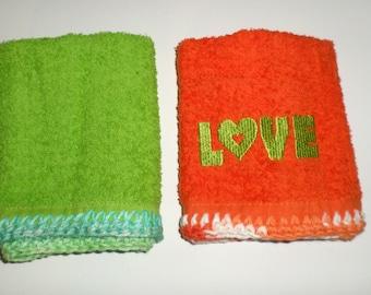 Crocheted Wash Cloths - Dish Cloths - Cotton Terry Wash Cloth - LOVE Wash Cloth - Green and Orange Dish Cloths - Embroidered Wash Cloth
