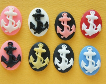 8 pcs Matte Finished Anchor Cameo Cabochon (18mm24mm) DR494