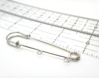3pcs Silver Plated Safety Pin brooch,Metal Findings ,3 Charms Holder