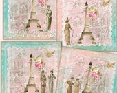 Instant Download - Ladies In Paris  -  Collage Sheet - Printable Download - Gift Tags - Scrapbook