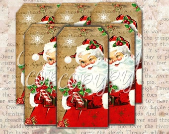 Instant Download  Whimsical Santa Hang Tags  - 2 X 4 inches  -  Printable Digital Collage Sheet - Digital Download