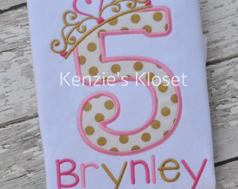 5th Birthday Crown Princess Shirt - Princess Tiara Shirt - Gold and Pink - (1st 2nd 3rd 4th 5th) Applique PERSONALIZED shirt