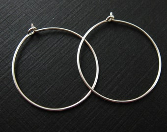 Sterling Silver Earrings-925 Sterling Silver Findings - Simple Earring Hoops - 25mm - Silver Hoops  (2 pairs, 4 pcs) - SKU: 203008-25