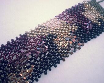 Gold, Black, Burgandy Freeform Bracelet Cuff
