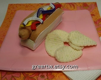 Hotdog with chips or fries, Franks, felt food, fake food, play food, grilled hotdog, potato chips, french fries, weiner,