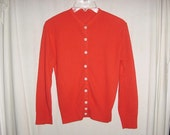 Vintage 60s Ladies Red Acrylic Rockabilly Cardigan Sweater Sm