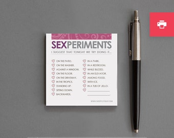 """Funny, Naughty, Dirty PRINTABLE Notepad. 1st Anniverary, Valentine. Boyfriend, Girlfriend, Husband, Wife, Man, Woman. """"Sexperiments"""" (PNL03)"""