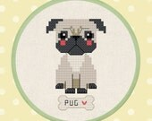Cute Pug - Dog Cross Stitch Pattern PDF Instant Download