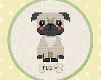 Cute Pug - Pet Dog Modern Simple Cute Counted Cross Stitch Pattern PDF Instant Download