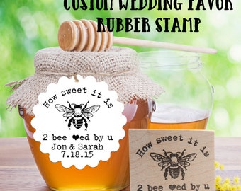 Custom Honey Wedding Favor rubber stamp with Bee - Personalized, Customized - Handmade by Blossom Stamps