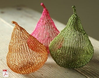 How to crochet autumn metal wire pears- buy this tut as a gift for someone far away